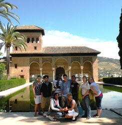Students gather in the Plaza de la Catedral in Cadiz, Spain.