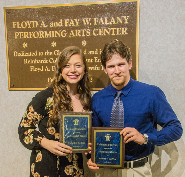 Sarah Elizabeth Williams, a musical theatre major from Oxford, Ga., and John Gordon Thigpen, an English literature major from Gainesville, Ga., were named Students of the Year.