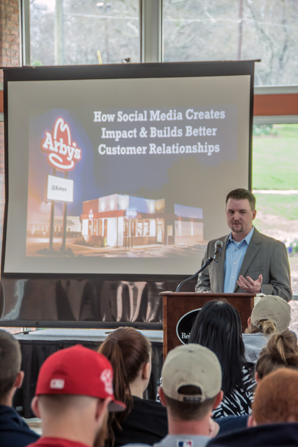 Josh Martin, senior director of digital and social media for Arby's, spoke to a standing-room-only crowd at Reinhardt University March 22.