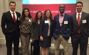 Reinhardt participants, from left, are Tyler Gaines, Nicolle Amaya, Alexis Flanagan, Dr. Karen Owen, Darian Harris and John Croley.